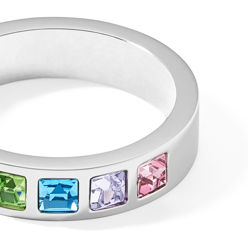 Ring stainless steel silver & square crystals pavé multicolour pastel