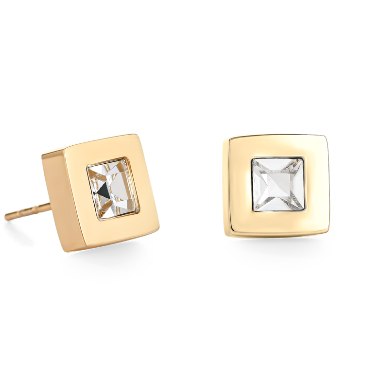 Earrings square stainlees steel gold & crystal