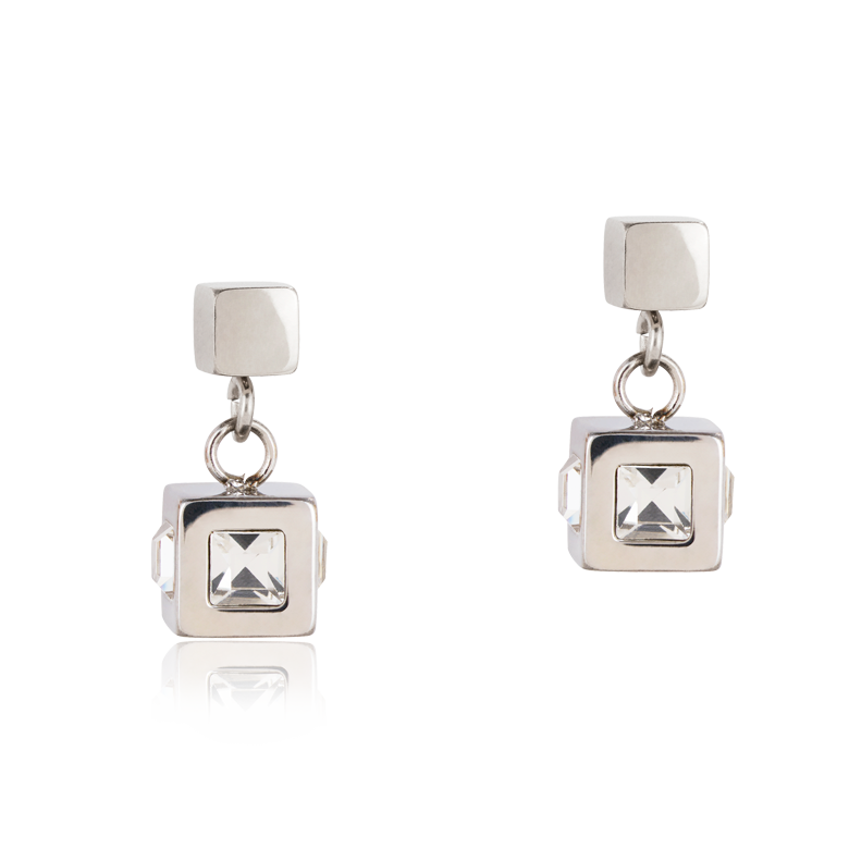 Earrings cube stainlees steel silver & crystal