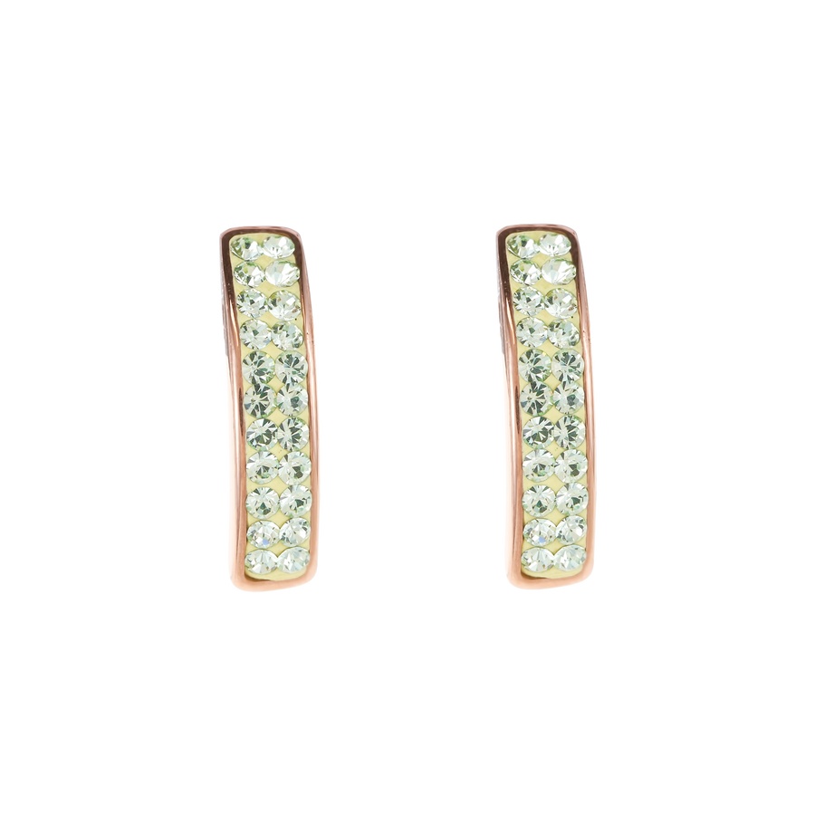Earrings stainless steel rose gold & crystals pavé light green