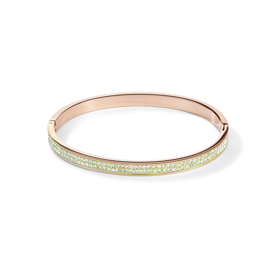 Bangle stainless steel rose gold & crystals pavé light green