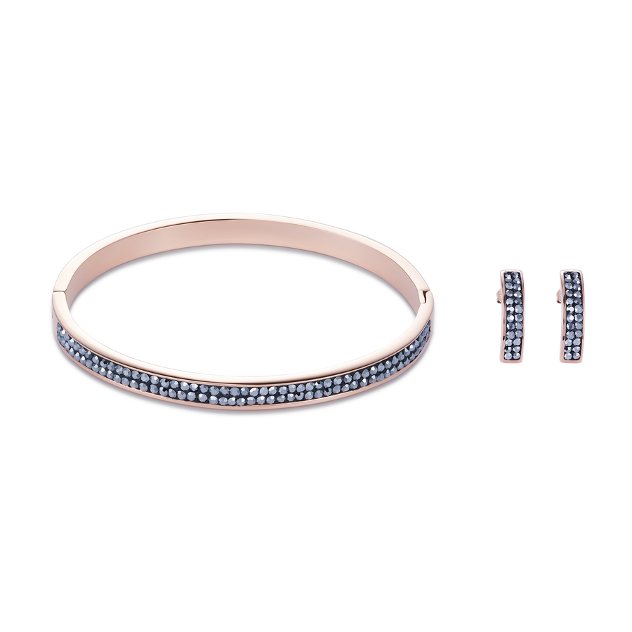 Bangle stainless steel rose gold & crystals pavé anthracite