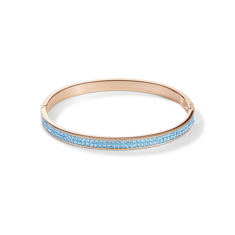 Bangle stainless steel rose gold & crystals pavé aqua