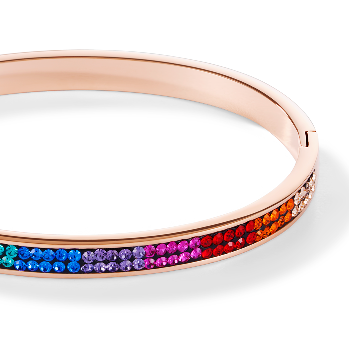 Bangle stainless steel rose gold & crystals pavé multicolour 19