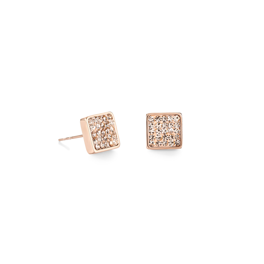 Earrings stainless steel rose gold & crystals pavé peach