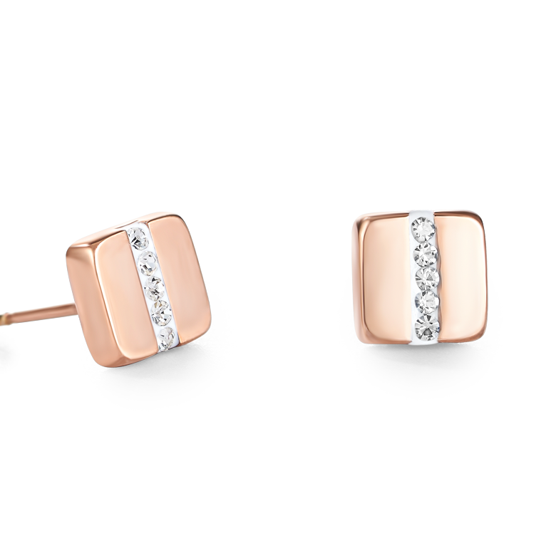 Earrings stainless steel square rose gold & crystals pavé strip crystal