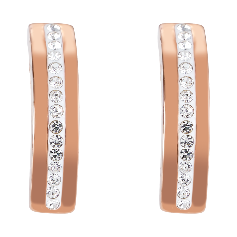 Earrings stainless steel rose gold & crystals pavé strip crystal