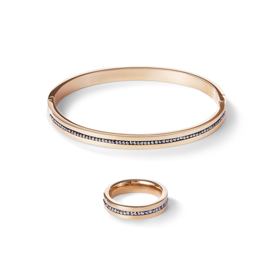 Bangle stainless steel rose gold & crystals pavé strip anthracite