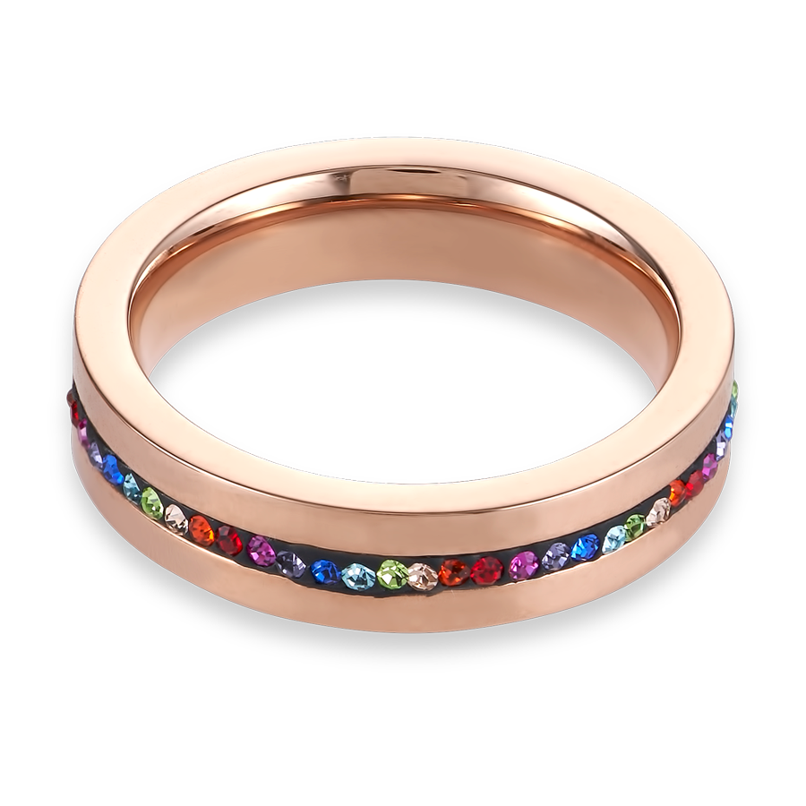Ring stainless steel rose gold & crystals pavé strip multicolour