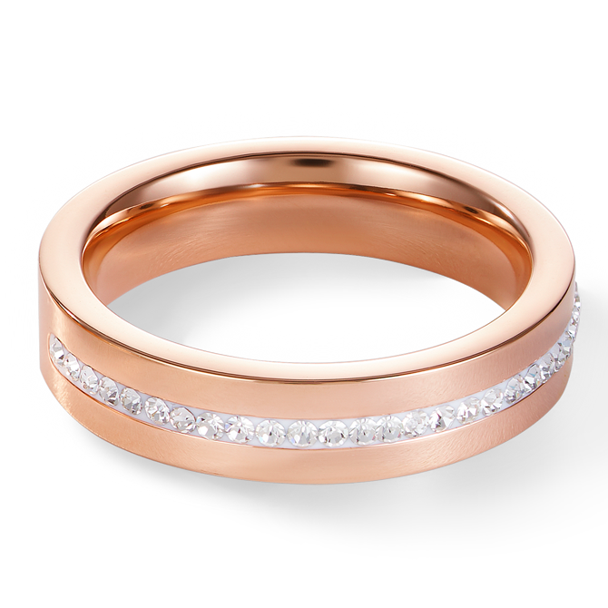 Ring stainless steel rose gold & crystals pavé strip crystal