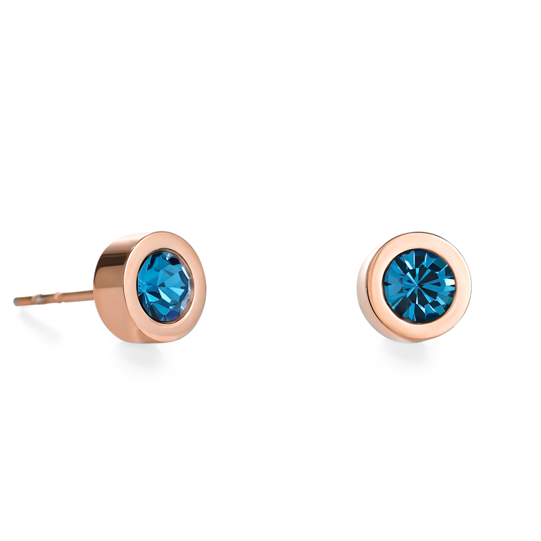 Earrings Crystal & stainless steel rose gold petrol