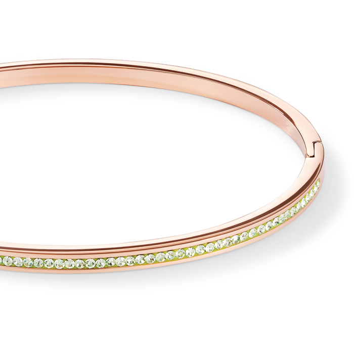 Bangle slim stainless steel rose gold & crystals pavé light green