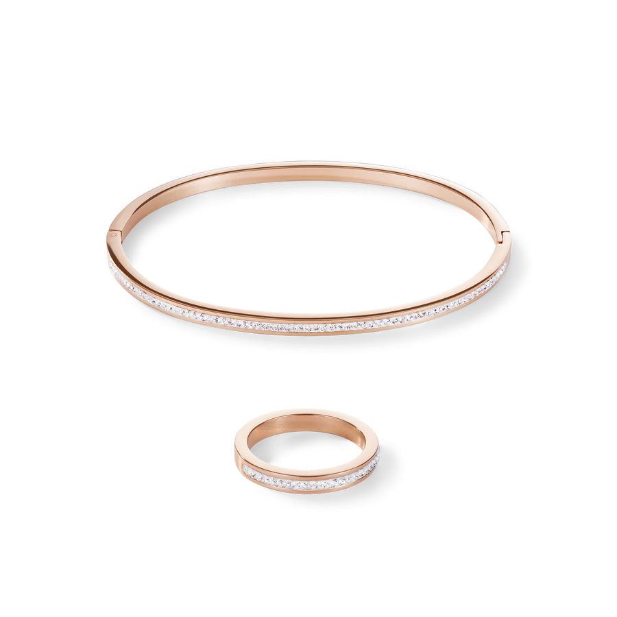 Bangle slim stainless steel rose gold & crystals pavé crystal 19
