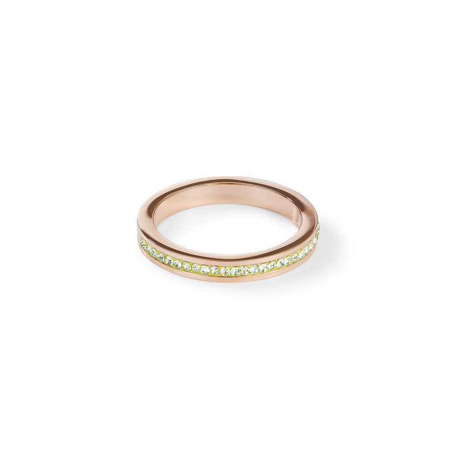 Ring slim stainless steel rose gold & crystals pavé green