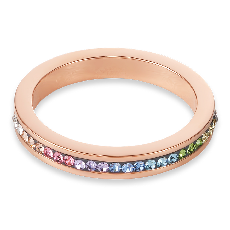 Ring slim stainless steel rose gold & crystals pavé multicolour pastel
