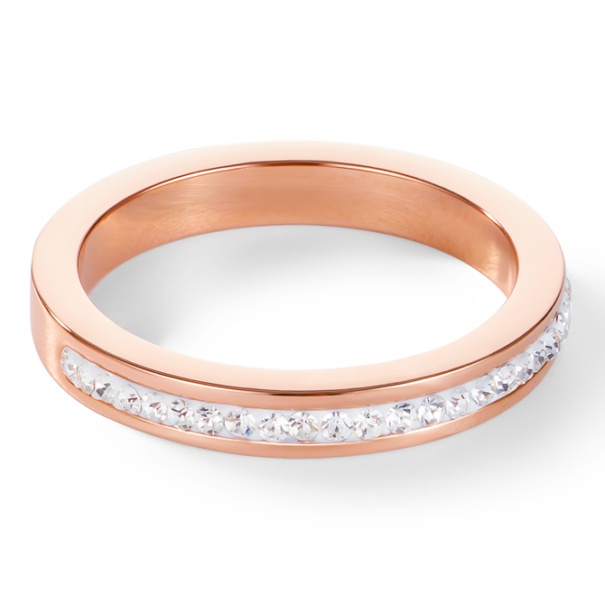 Ring slim stainless steel rose gold & crystals pavé crystal
