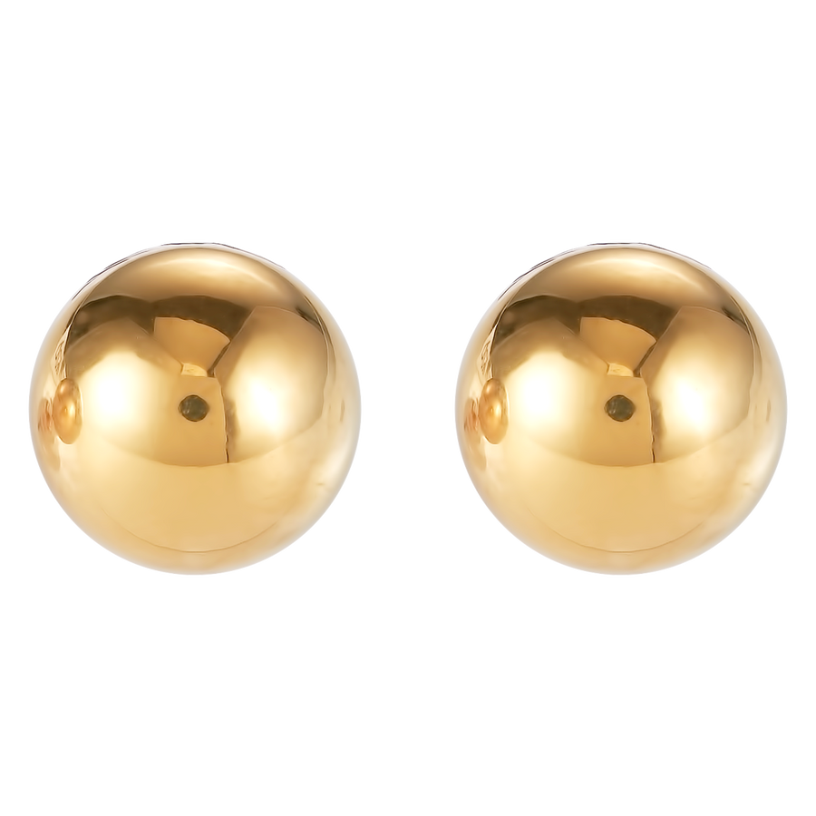 Earrings stainless steel ball large gold