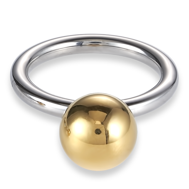 Ring stainless steel ball large gold