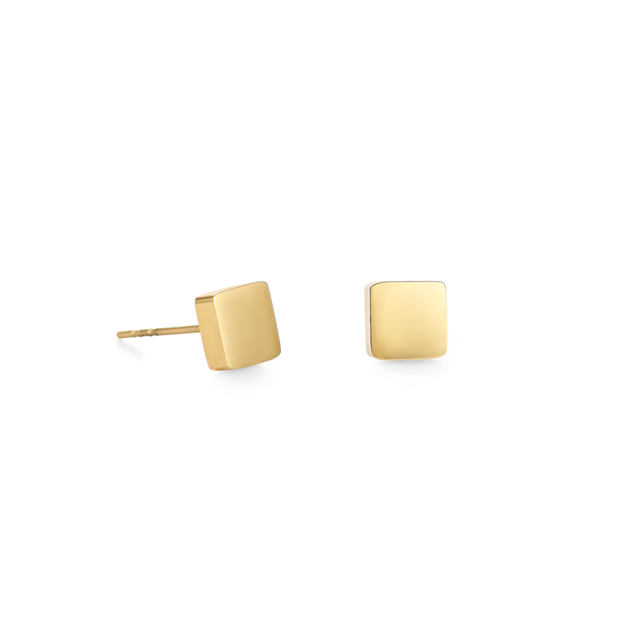 Earrings Square stainless steel gold