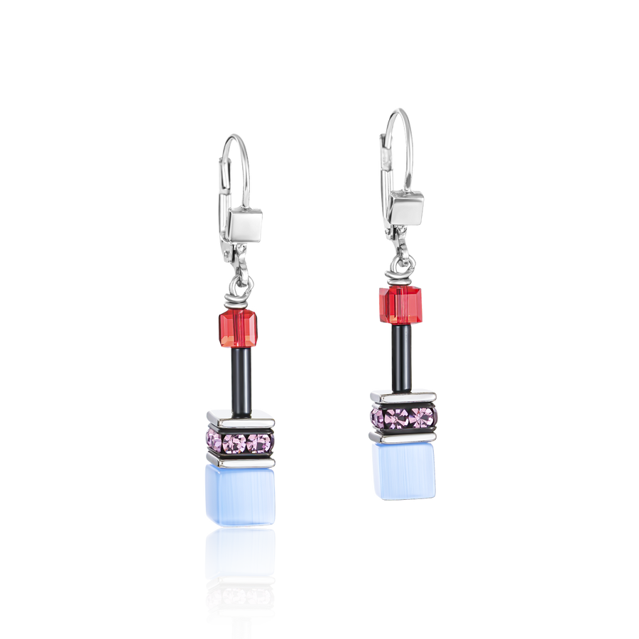 GeoCUBE® Earrings purple-red-blue