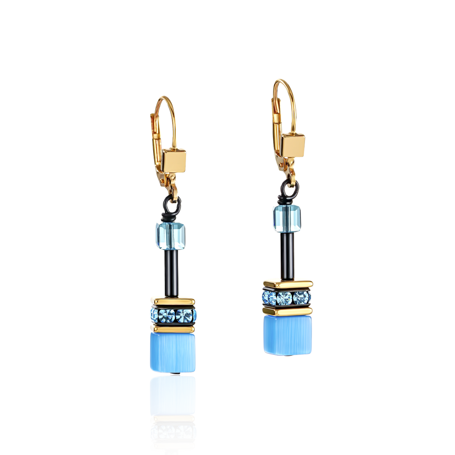 GeoCUBE® Earrings multicolour rainbow gold