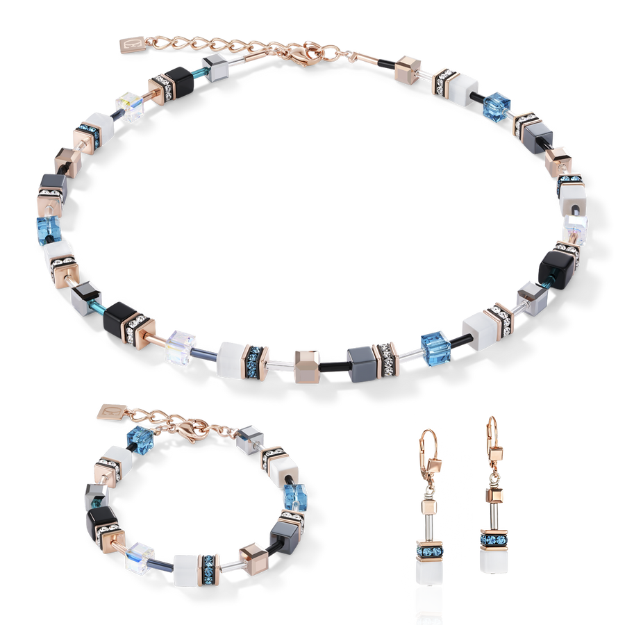 GeoCUBE® Necklace rose gold, white & petrol