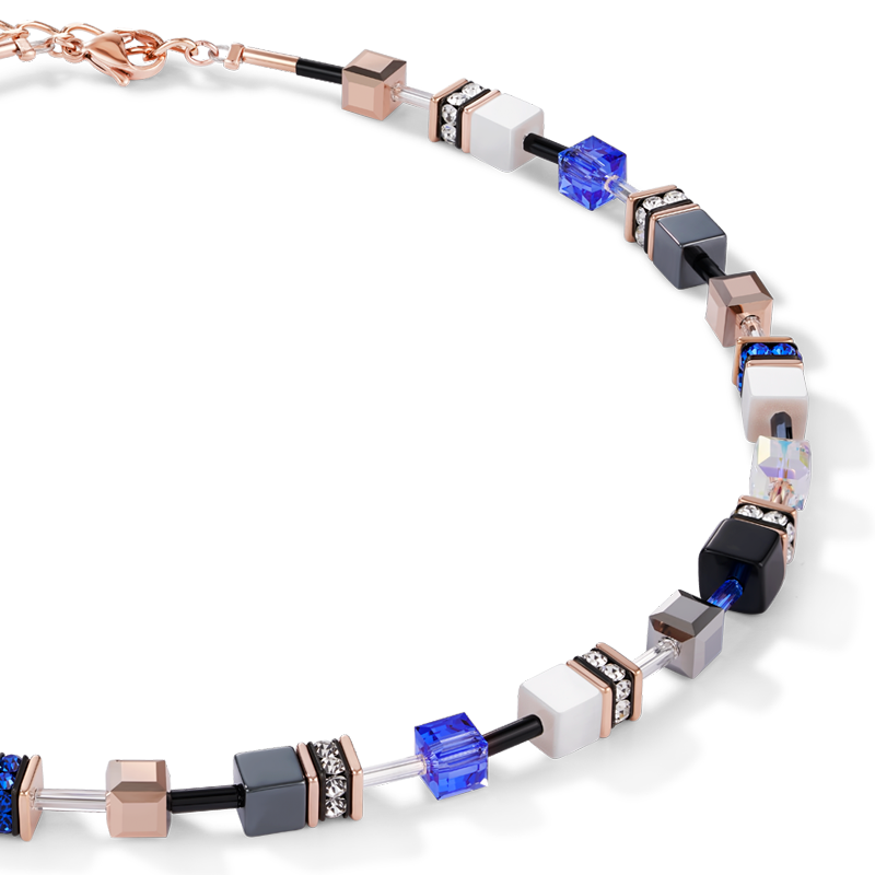 GeoCUBE® Necklace rose gold, white & blue