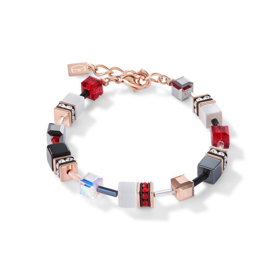 GeoCUBE® Bracelet rose gold, white & red