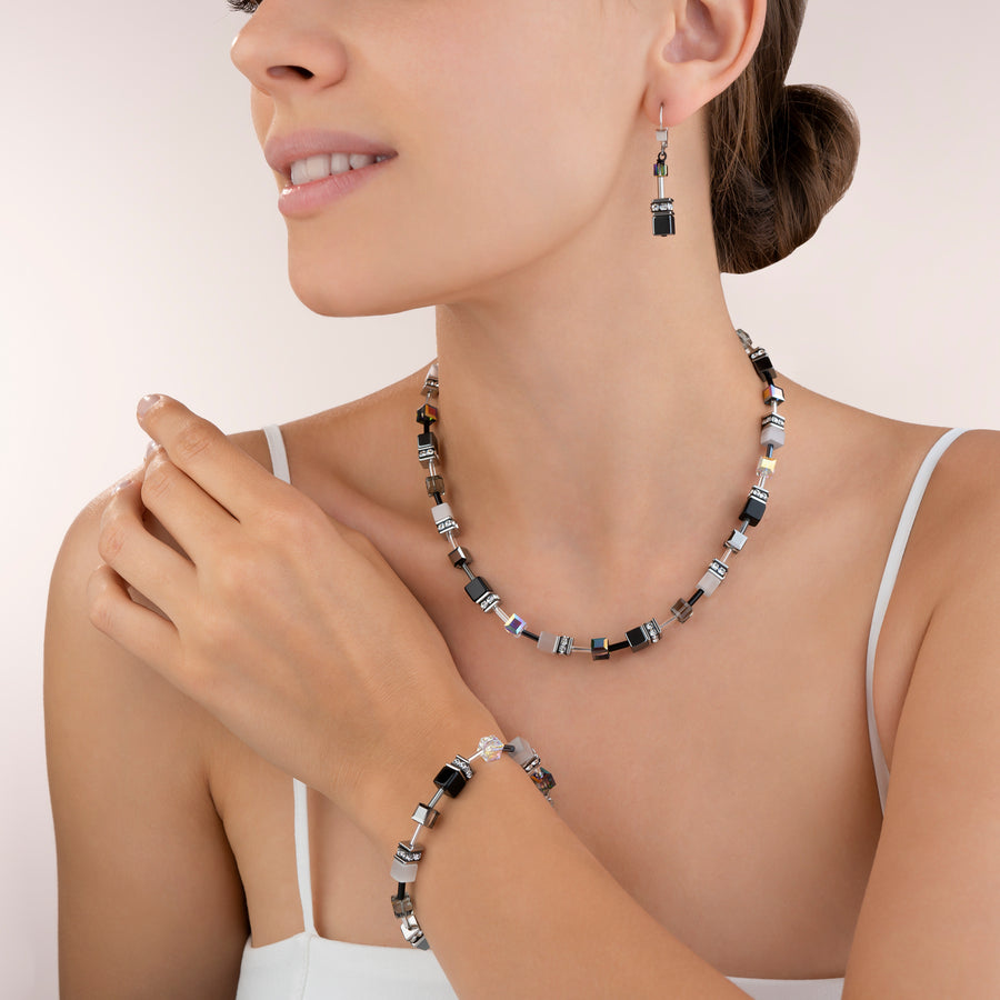 GeoCUBE® Necklace black-white-haematite
