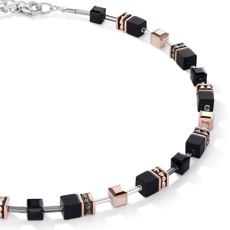 GeoCUBE® Necklace onyx black-rose gold