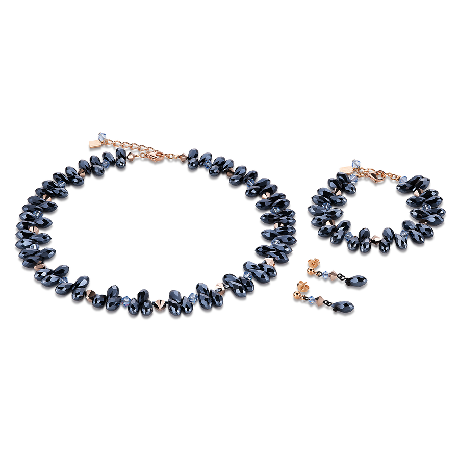 Bracelet Drops, cut glass & Swarovski® Crystals anthracite