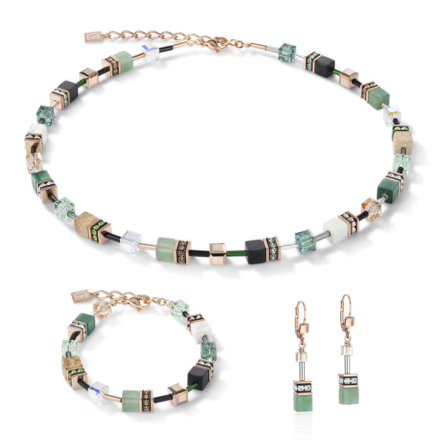 Necklace GeoCUBE® Swarovski® Crystals & Gemstones green-beige