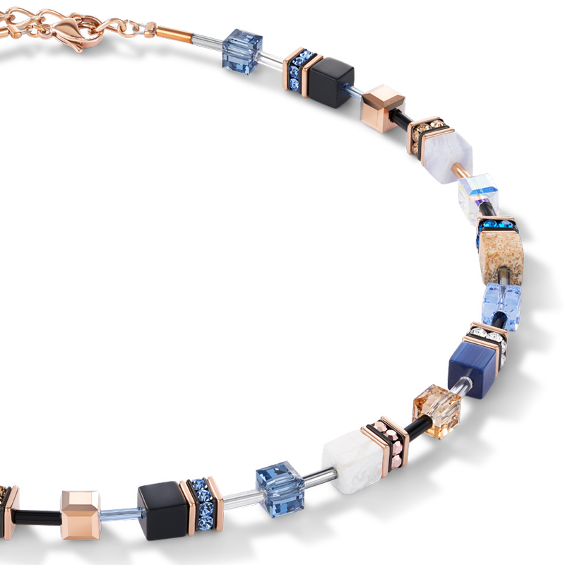 Necklace GeoCUBE® Swarovski® Crystals & Gemstones blue-beige