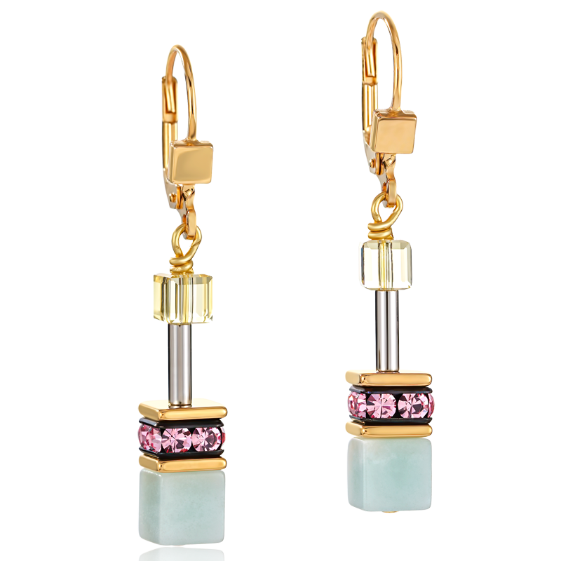 Earrings GeoCUBE® Swarovski® Crystals & Gemstones multicolour romance
