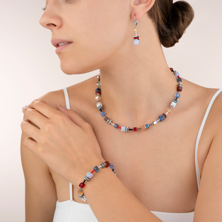 Bracelet GeoCUBE® Swarovski® Crystals & Gemstones blue-red
