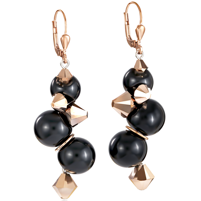 Earrings acrylic glass black & Swarovski® Crystals rose gold