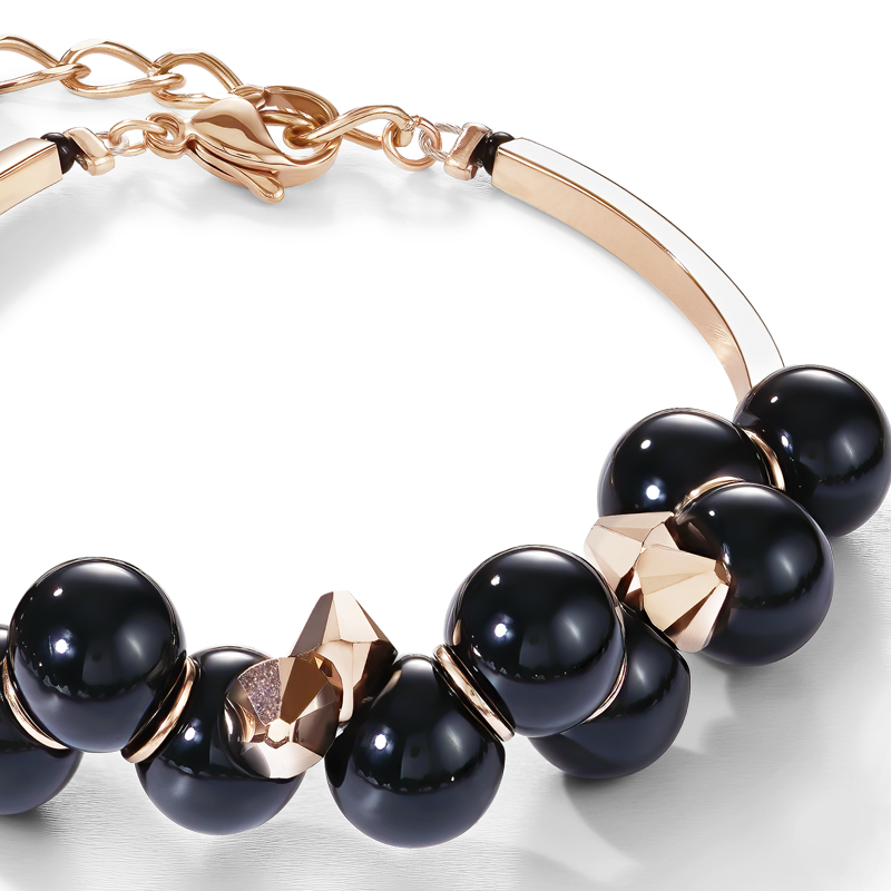Bracelet acrylic glass black & Swarovski® Crystals rose gold