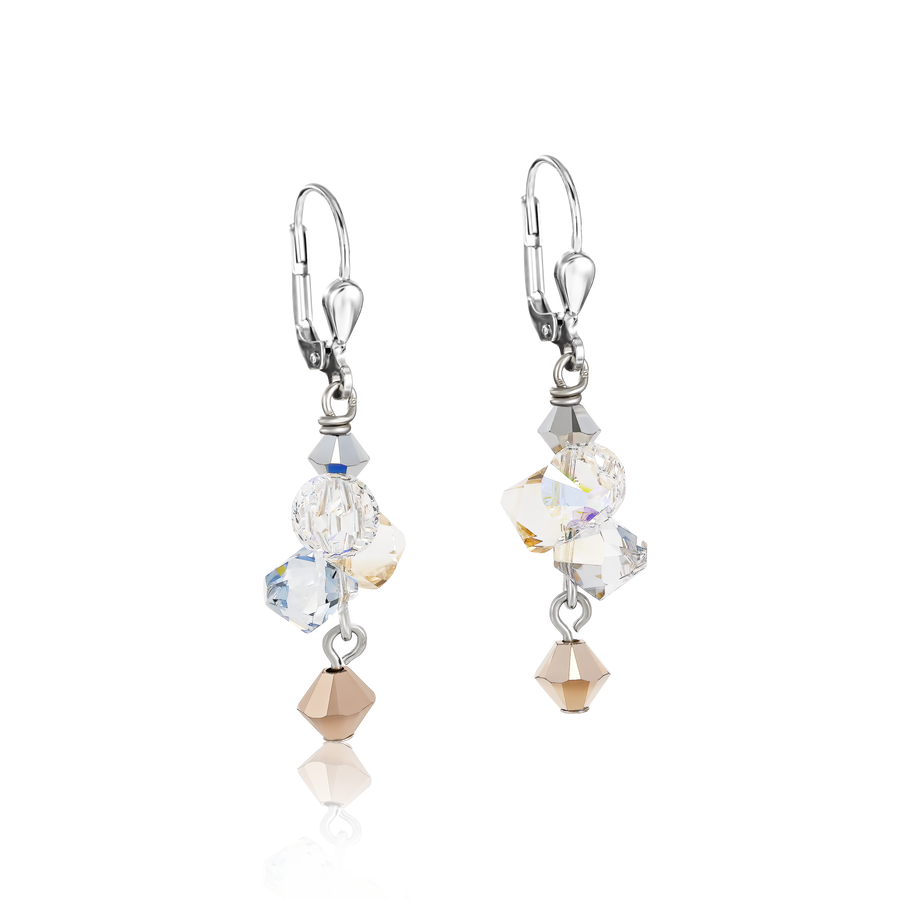 Earrings Swarovski® Crystals & stainless steel rose gold-silver