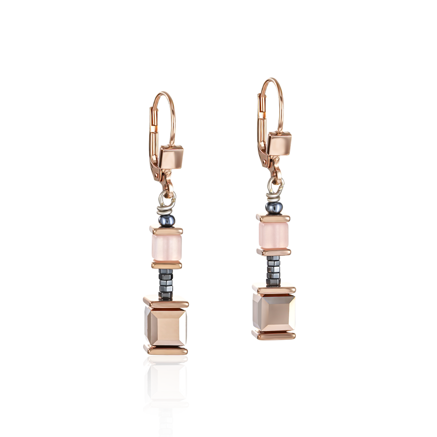 Earrings GeoCUBE® Swarovski® Crystals & Polaris coral-mintgreen