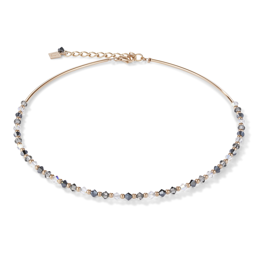 Necklace Swarovski® Crystals & stainless steel rose gold-grey