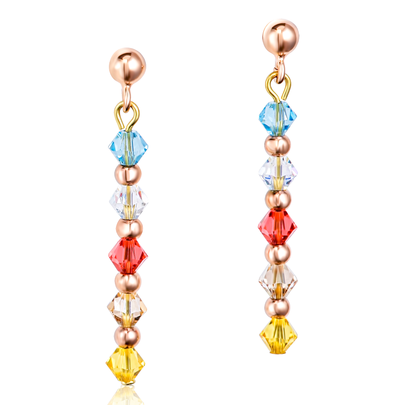 Earrings Swarovski® Crystals & stainless steel rose gold multicolour pastel