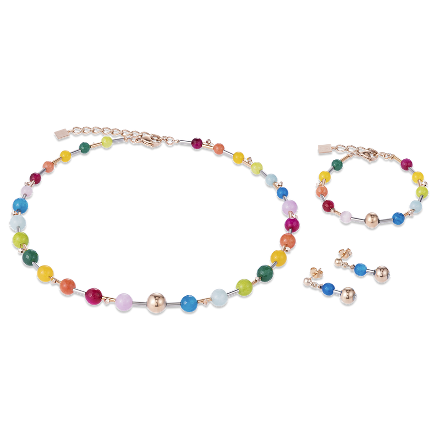 Necklace Gemstones, stainless steel rose gold & Swarovski® Crystals multicolour