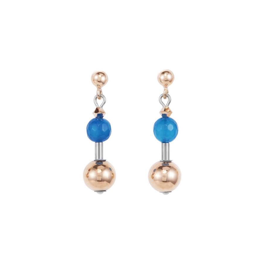 Earrings Gemstones, stainless steel rose gold & Swarovski® Crystals multicolour