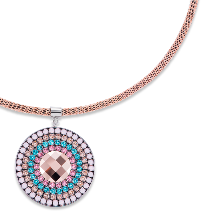 Necklace Amulet small Swarovski® Crystals & mesh rose-turquoise