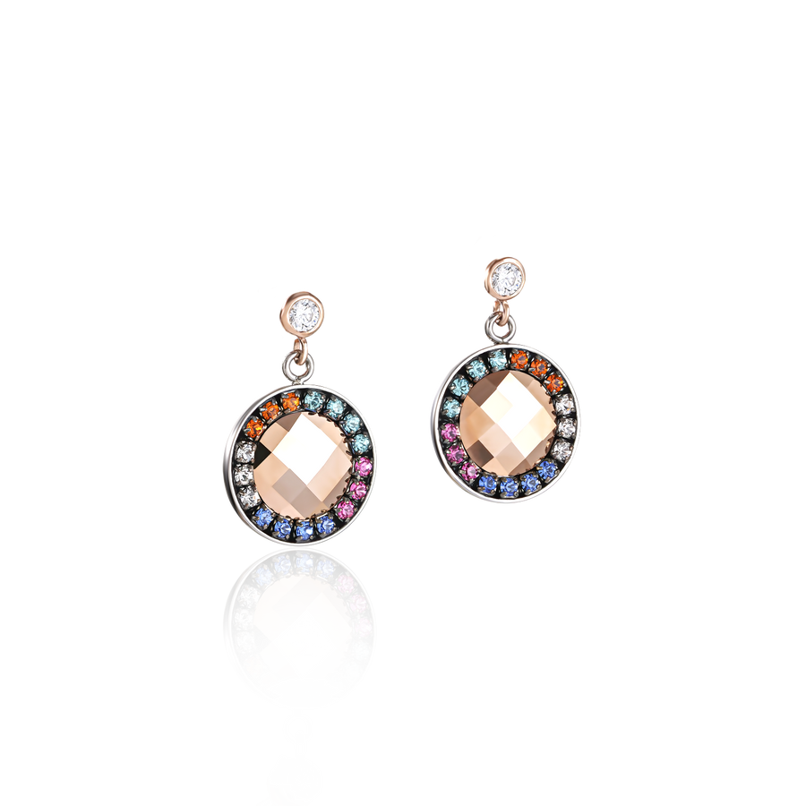 Earrings Amulet Swarovski® Crystals & mesh multicolour