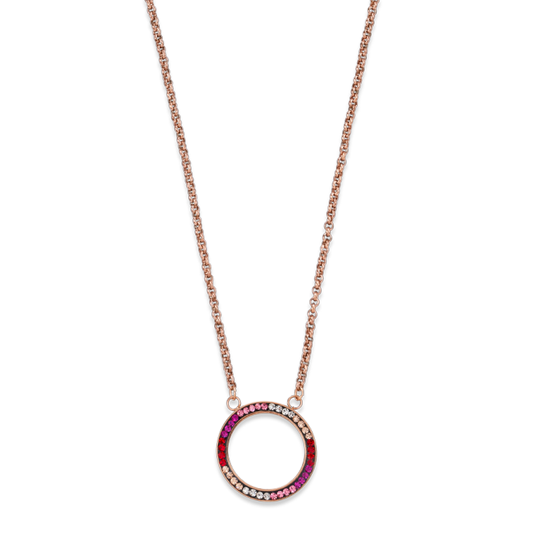 Necklace Ring Crystals pavé & stainless steel rose gold & red-rose