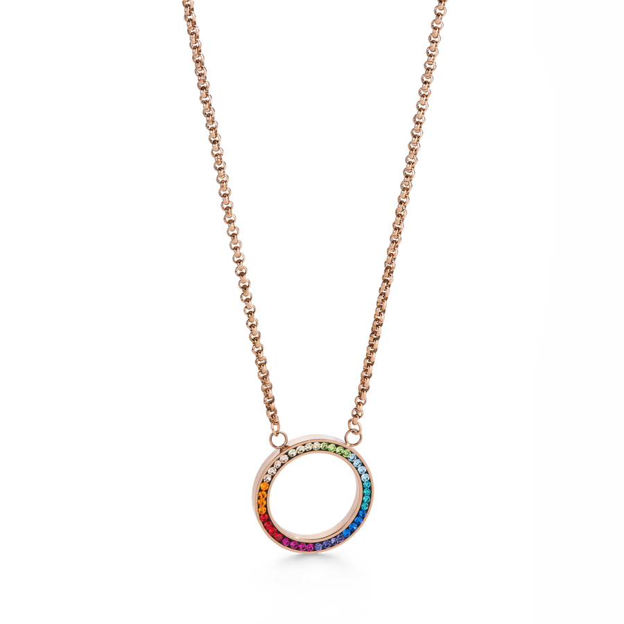 Necklace Ring Crystals pavé & stainless steel rose gold & multicolour