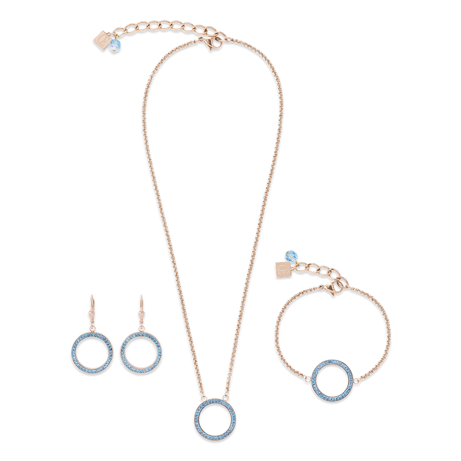 Necklace Ring Crystals pavé & stainless steel rose gold & aqua