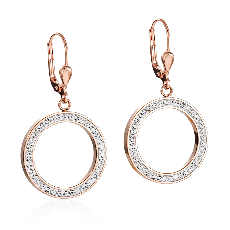 Earrings Ring Crystals pavé & stainless steel rose gold & crystal