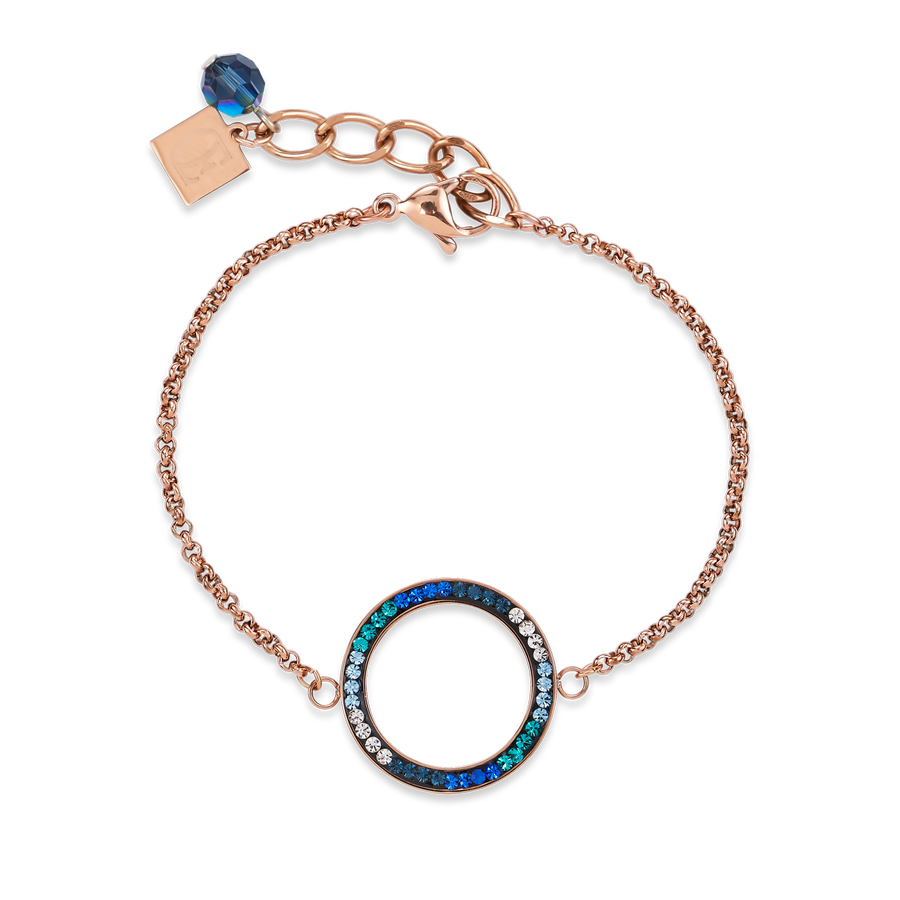 Bracelet Ring Crystals pavé & stainless steel rose gold & blue-turquoise
